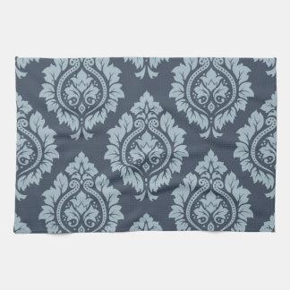 Decorative Damask Pattern Light on Dark Blue-Grey Hand Towels