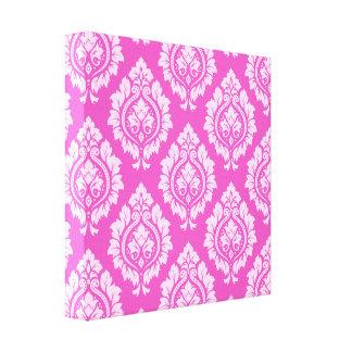 Decorative Damask Pattern – Light on Dark Pink Stretched Canvas Print