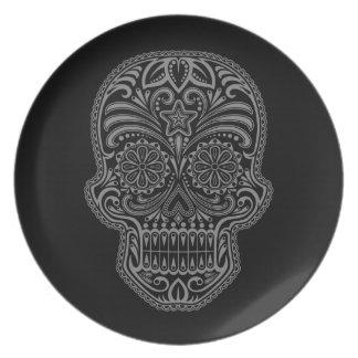 Decorative Dark Sugar Skull Dinner Plates