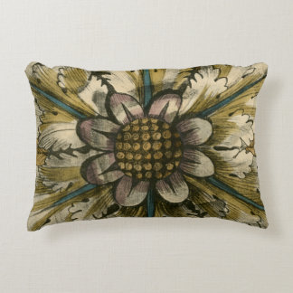 Decorative Demask Rosette on Grey Background Accent Pillow