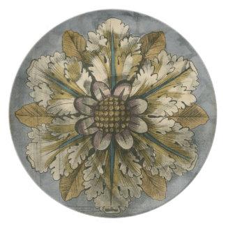 Decorative Demask Rosette on Grey Background Dinner Plate