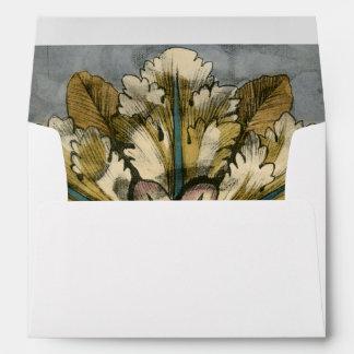 Decorative Demask Rosette on Grey Background Envelope