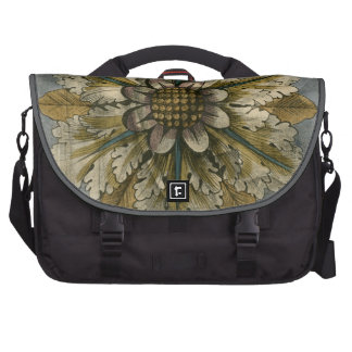 Decorative Demask Rosette on Grey Background Bags For Laptop