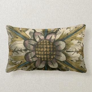 Decorative Demask Rosette on Grey Background Lumbar Pillow