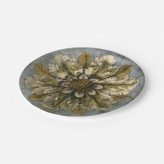 Decorative Demask Rosette on Grey Background Paper Plate