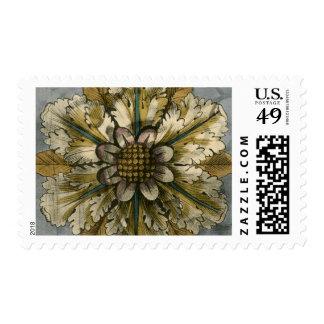 Decorative Demask Rosette on Grey Background Postage Stamp