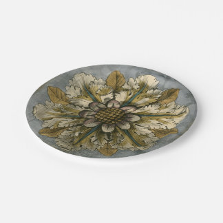 Decorative Demask Rosette on Grey Background 7 Inch Paper Plate