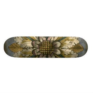 Decorative Demask Rosette on Grey Background Skateboard