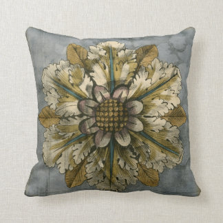 Decorative Demask Rosette on Grey Background Throw Pillow