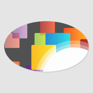 Decorative design element oval sticker