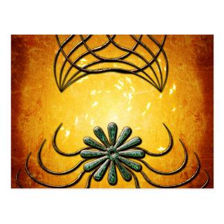 Decorative design with a flower made of diamond postcard