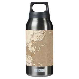 Decorative design with floral elements insulated water bottle