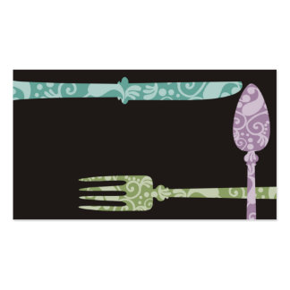 decorative dining utensils chef catering business business card