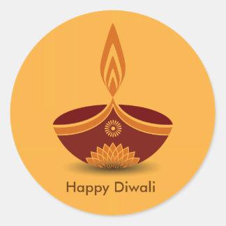 Decorative Diwali Lamp Design Classic Round Sticker
