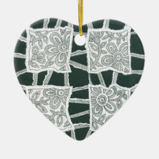 decorative, drawing, floral, ink, lace, organic ceramic ornament
