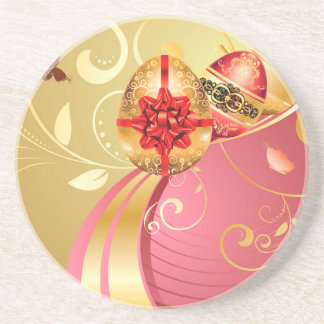 Decorative Easter Background Drink Coaster