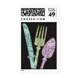 decorative eating dining utensils postage stamp