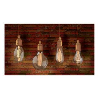 Decorative Edison Light Bulbs and Brick Wall Business Card