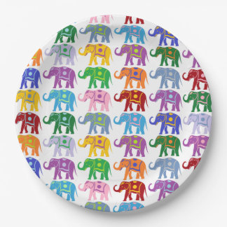 Decorative Elephants Paper Plate
