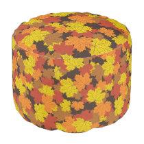 Decorative Fall Round Pouf Ottoman