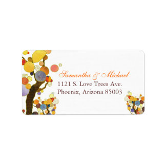 Decorative Fall Trees Wedding Label