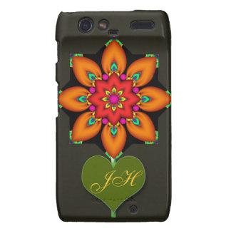 Decorative Fantasy flower & Monogram Droid RAZR Cover