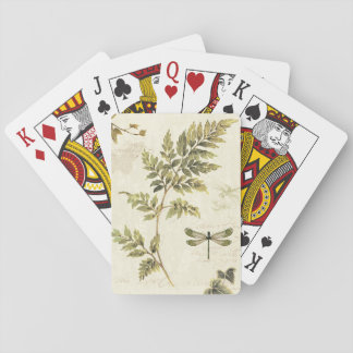 Decorative Ferns and a Dragonfly Playing Cards