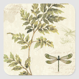 Decorative Ferns and a Dragonfly Square Sticker