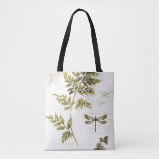 Decorative Ferns and a Dragonfly Tote Bag