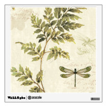 Decorative Ferns and a Dragonfly Wall Sticker