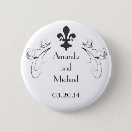 Decorative Fleur de Lis Wedding Button