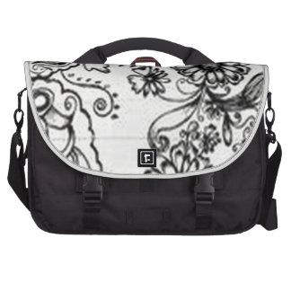 Decorative floral design laptop commuter bag