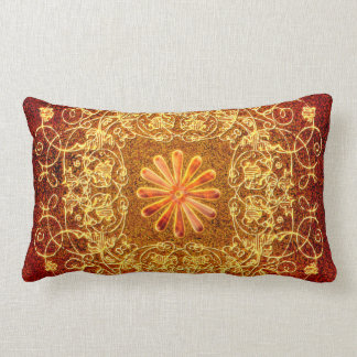 Decorative floral elements in yellow lumbar pillow