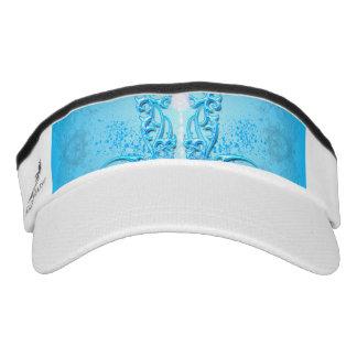 Decorative floral elements on soft blue background visor