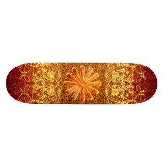 Decorative floral elements skateboard deck