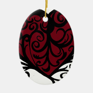 Decorative Floral Heart Design Ceramic Ornament