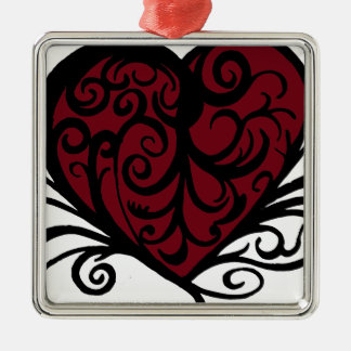 Decorative Floral Heart Design Metal Ornament