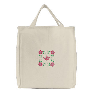 Decorative Floral Mom Wife Monogram Embroidered Canvas Bag
