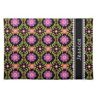 Decorative Floral Pattern Custom Name Cloth Placemat