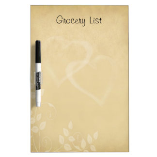 Decorative Floral Pattern with Heart Reminder List Dry-Erase Whiteboard