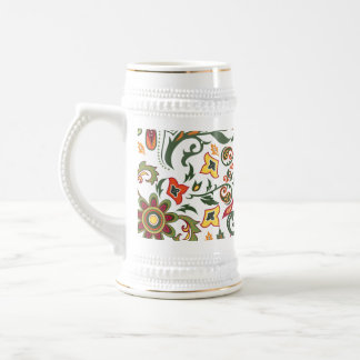 Decorative floral patterns beer stein