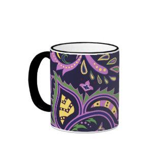 Decorative floral patterns ringer mug