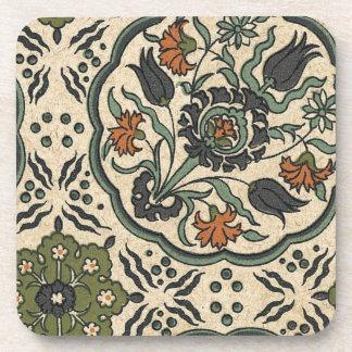 Decorative Floral Persian Tile Design Beverage Coaster