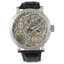 Decorative Floral Persian Tile Design Wrist Watch