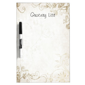 Decorative Floral Scrolls Grocery List Dry-Erase Board