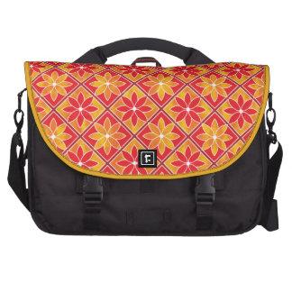 Decorative Floral Tiles Laptop Bag - Red