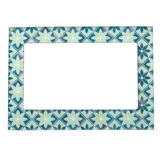 Decorative Floral Tiles Magnetic Frame -Aquamarine