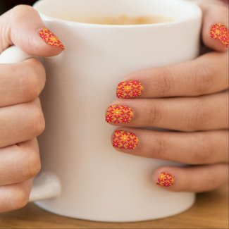 Decorative Floral Tiles Minx Nails - Red Minx Nail Art