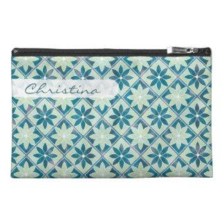 Decorative Floral Tiles Travel Bag - Aquamarine Travel Accessory Bag