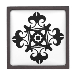 Decorative Florette Classic Black and White Jewelry Box